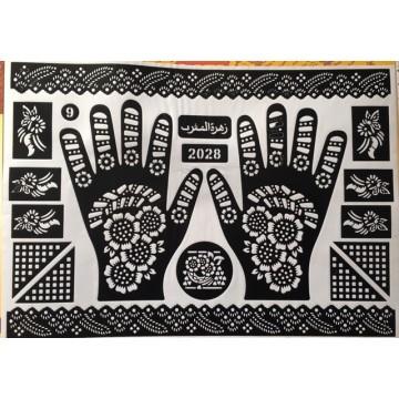 Pochoir pour hénné mains -...